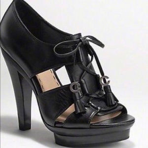 Coach Teagan Heel Platform Black Leather !!!